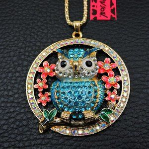 Necklace- NEW- Betsey Johnson Beautiful Blue Owl